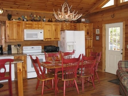 Picture kitchen of log cabin rental in boone nc
